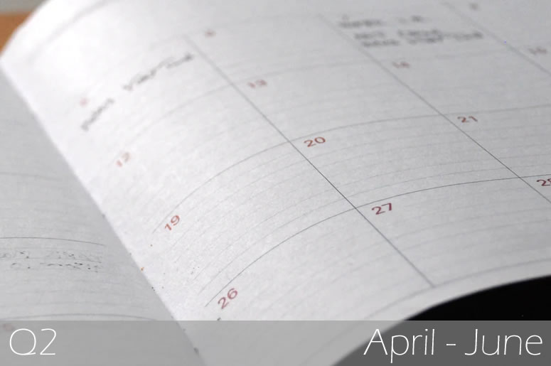 A close up of an open diary, displaying a range of dates in a grid format: Investment Markets Q2.