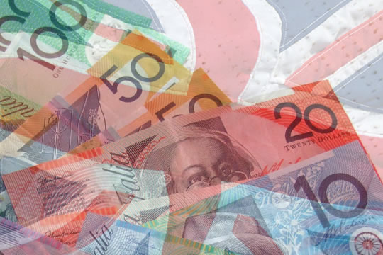 Composite image of Australian bank notes overlaying a waving Union Jack flag. - Baldwin Financial Services | Prospect Financial Advisors.
